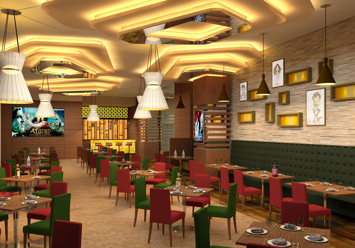 restaurants, Interior designer for high end residence,  penthouse, Interior designer for game zone, food court , firm specialized in multiplex cinema interior design.